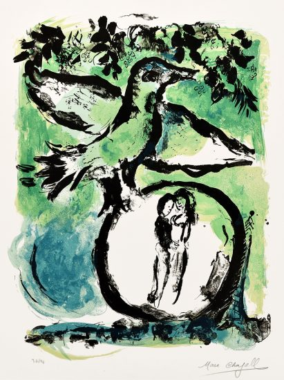 Marc Chagall Lithograph, L'Oiseau vert (The Green Bird), 1962