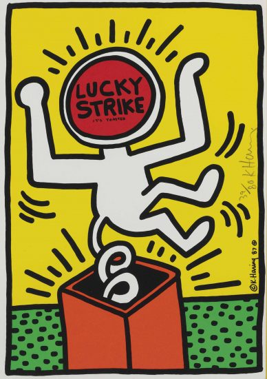 Keith Haring Silkscreen, Lucky Strike (Plate 3), 1987