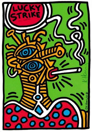 Keith Haring Silkscreen, Lucky Strike (Plate 1), from the Lucky Strike Portfolio, 1987