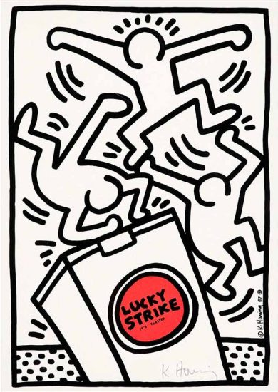 Keith Haring Silkscreen, Lucky Strike (Plate 4), from the Lucky Strike Portfolio, 1987