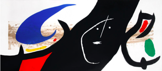 Joan Miró Aquatint, Maja Negra, 1973