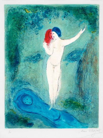 Marc Chagall Lithograph, Le Baiser de Chloé (Chloe's Kiss) from Daphnis and Chloé, 1961