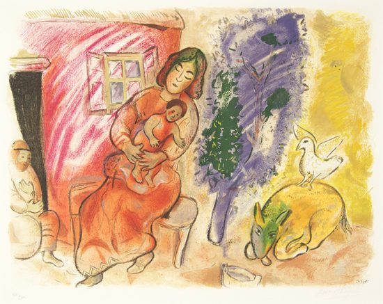 Marc Chagall Lithograph, Maternité (Maternity), 1954