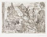 Pablo Picasso Etching, Minotaure aveugle guidé dans la nuit par une petite fille au pigeon  (Blind Minotaur Led by Girl with Fluttering Dove) from the Vollard Suite, 1934
