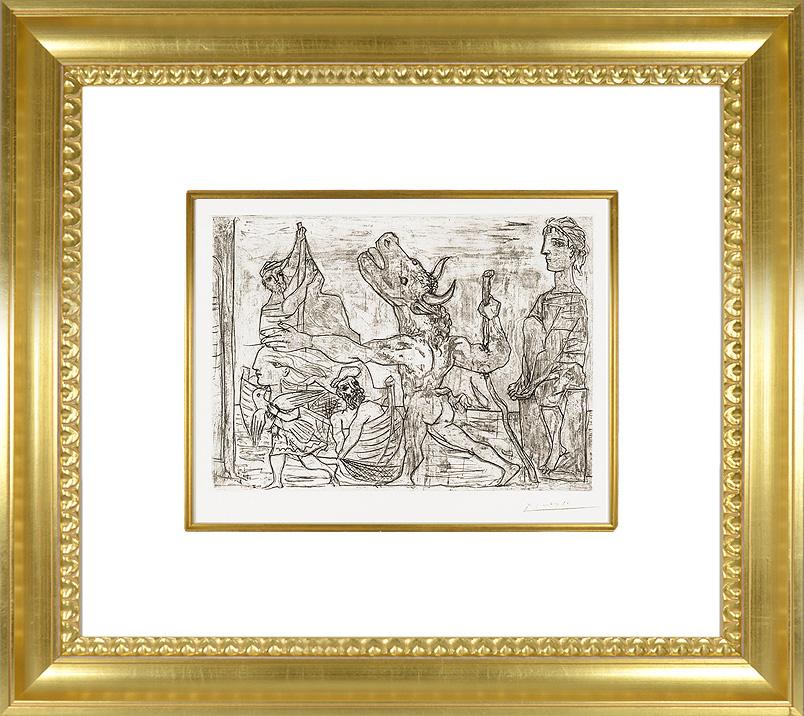Pablo Picasso etching Minotaure aveugle frame