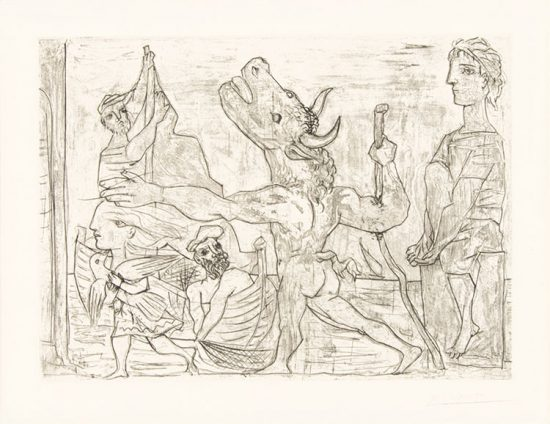 Pablo Picasso Etching, Minotaure aveugle guidé dans la nuit par une petite fille au pigeon  (Blind Minotaur Led by Girl with Fluttering Dove) from the Vollard Suite, 1934