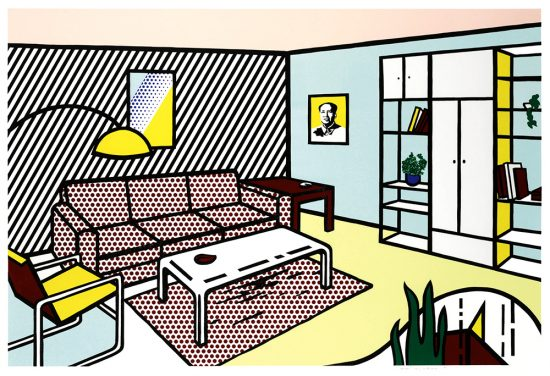 Roy Lichtenstein Lithograph, Modern Room, from the Interiors Series, 1991