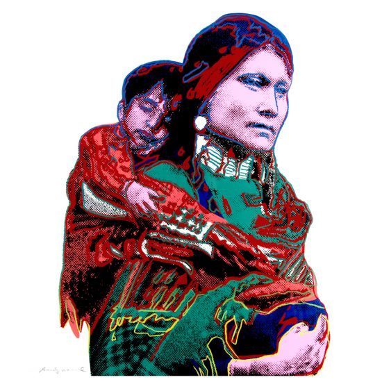 Andy Warhol Screen Print, Mother and Child, from the Cowboys and Indians Series, 1986