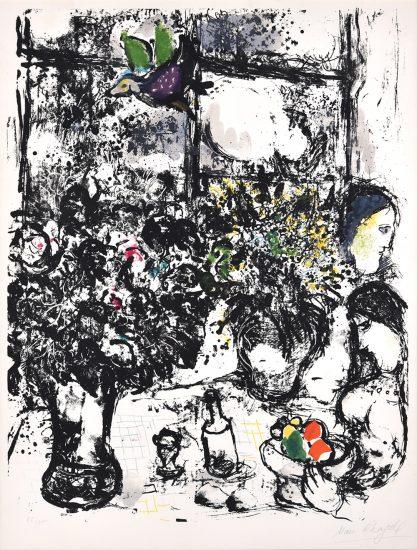 Marc Chagall Lithograph, Nature morte au bouquet (Still Life with Bouquet), 1960