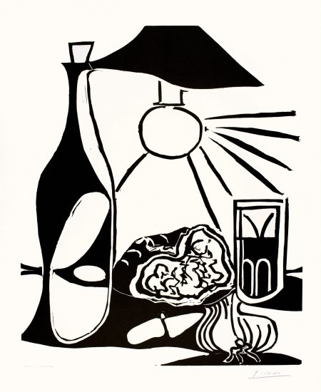 Pablo Picasso Linocut, Nature morte au casse-croûte (Still Life with Snacks and Bottle), 1962