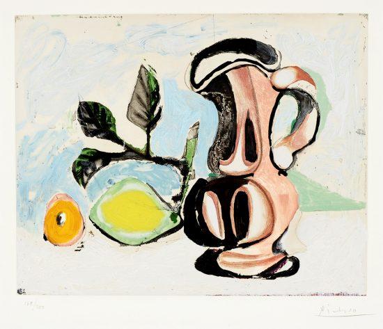 Pablo Picasso Aquatint, Nature morte au citron et un pichet rouge, c.1955