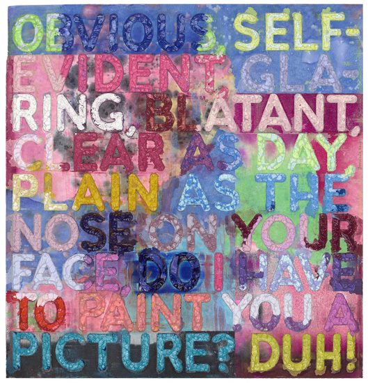 Mel Bochner Monoprint, Obvious, 2019