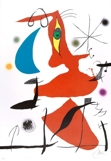 Joan Miró Lithograph, Oda a Joan Miró, 1973