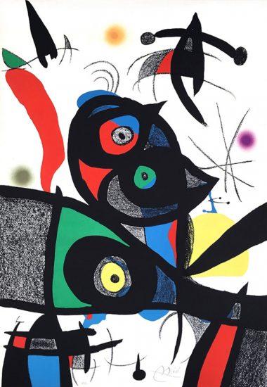 Joan Miró Lithograph, Oda à Joan Miró, Plate 3, 1973
