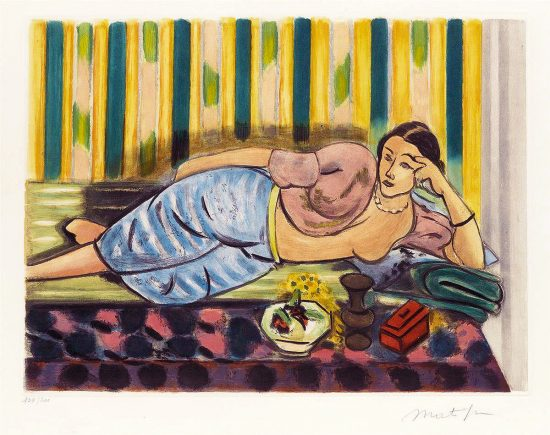 Henri Matisse Aquatint, Odalisque au Coffret Rouge (Odalisque with Red Box), 1952