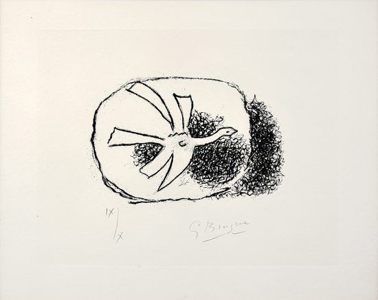 Georges Braque Lithograph, Oiseau dans son nid (Bird in its Nest) from Août (August), 1958