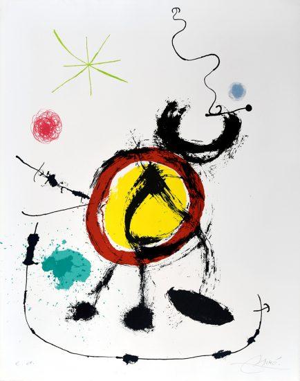 Joan Miró Lithograph, Oiseau migrateur (Migratory Birds), 1970