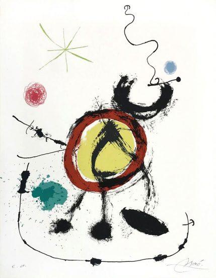 Joan Miró Silkscreen, Oiseau migrateur (Migratory Birds), 1970