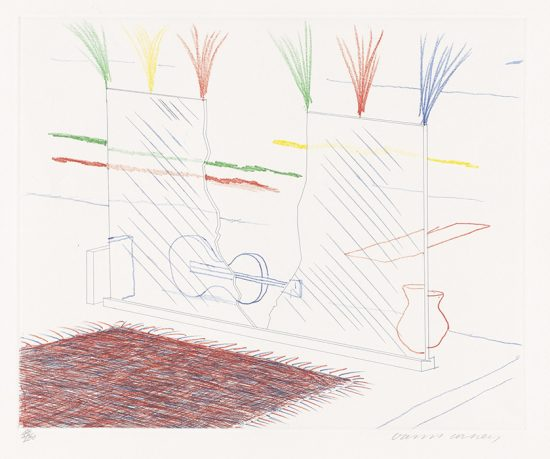 David Hockney Etching, On It May Stay His Eye, 17, from The Blue Guitar, 1976-1977