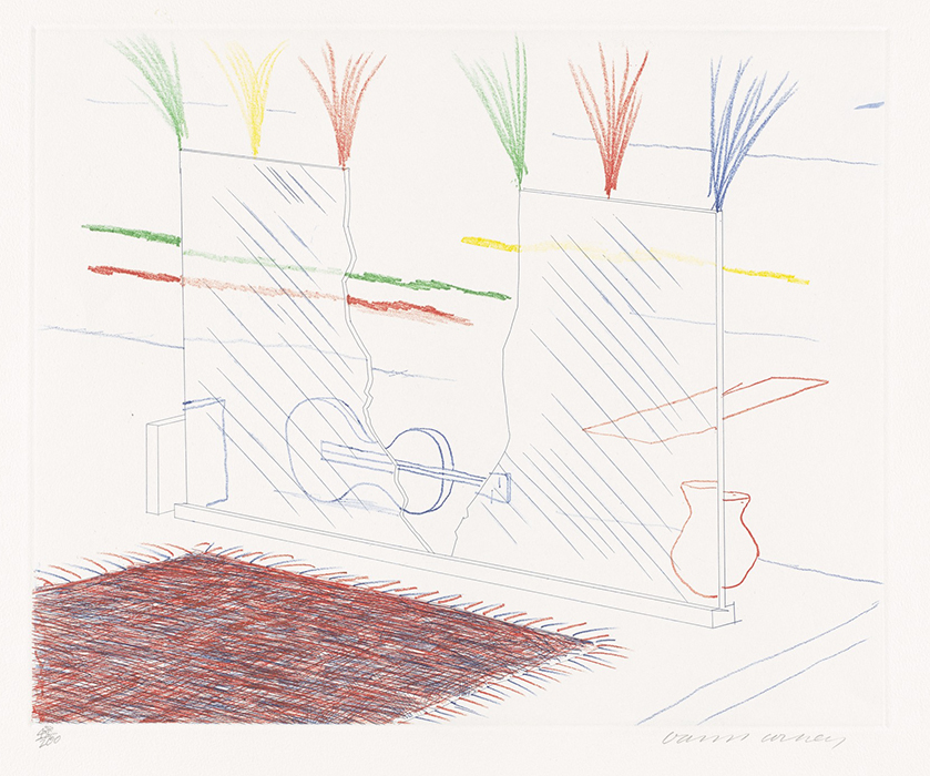 Hockney Etching On It May Stay His Eye, 17, from The Blue Guitar, 1976-1977 for sale