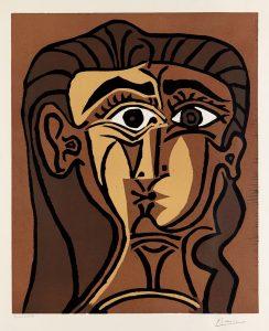 Pablo Picasso Linocut, Tête de Femme (Head of a Woman), 1962