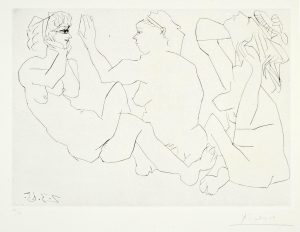 Pablo Picasso Drypoint, Trois Femmes Nues (Three Nude Women), 1965