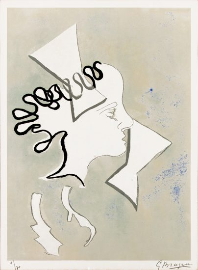 Georges Braque Engraving, Page 47 from Si je mourais la-bas, 1962