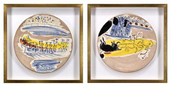 Pablo Picasso Ceramic, Paseo and Arrastro, from Service Scènes de Corrida (Set of 2 Plates), 1959 A.R. 416, A.R. 423