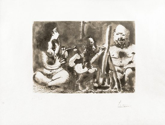 Pablo Picasso Lithograph, Peintre au Travail avec Modele barbu (Painter at Work with Bearded Model), 1963