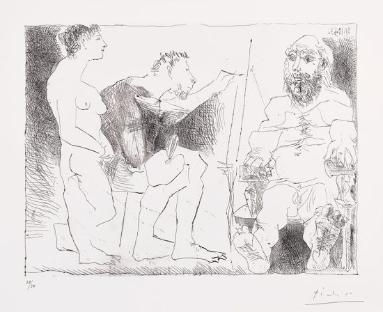 Pablo Picasso Lithograph, Peintre au Travail (Painter at Work), 1963