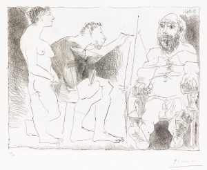 Pablo Picasso Etching, Peintre au Travail (Painter at Work), 1963
