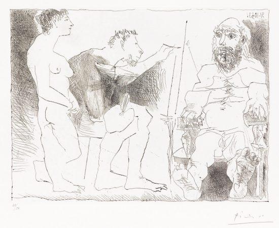 Pablo Picasso Etching, Peintre au Travail (Painter at Work), 1963