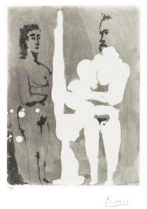 Pablo Picasso Aquatint, Peintre Debout à son Chevalet, avec un modèle, 1966