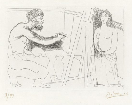 Pablo Picasso Etching, Peintre devant son Chevalet (Painter in Front of His Easel), 1927