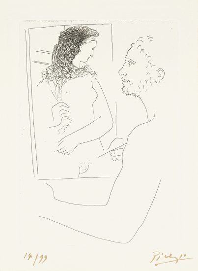 Pablo Picasso Lithograph, Peintre Devant Son Tableau (Painter Before His Easel) from Le Chef-d'œuvre Inconnu, 1927