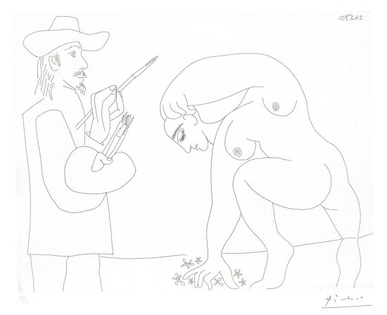 Pablo Picasso Lithograph, Peintre et Femme Cuillant des Fleurs (Painter and Woman Picking Flowers), 1970