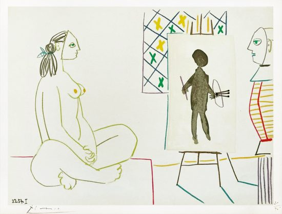 Pablo Picasso Lithograph, Peintre et Femme  (Painter and Nude Woman), from Verve, 1954