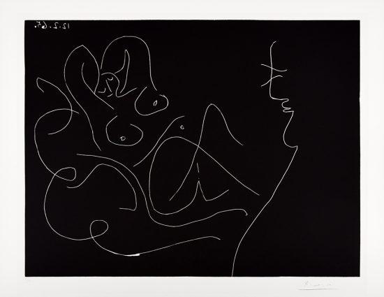 Pablo Picasso Linocut, Peintre et modéle au fauteuil à bascule (Painter and model on rocking chair), 1965