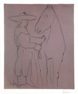 Pablo Picasso Linocut, Picador et cheval (Picador and Horse), 1959