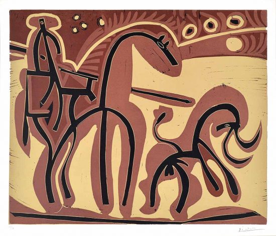 Pablo Picasso Linocut, Picador et Taureau (Picador and Bull), 1959