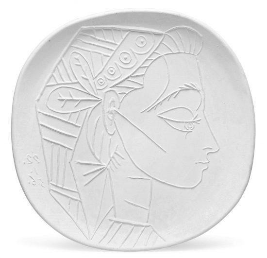 Pablo Picasso Ceramic, Picasso Madoura Ceramic, Profil de Jacqueline (Jacqueline's Profile), 1956 A.R. 309