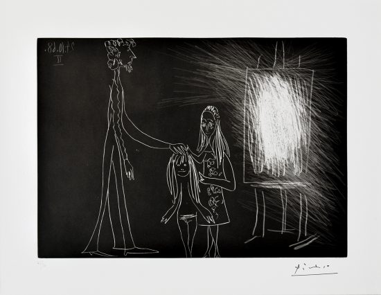 Pablo Picasso Etching, Piero Crommelynck Avec Sa Femme Et Sa Fille Dans L'Atelier II (Piero Crommelynck With His Wife And His Girl In The Workshop II), 1968