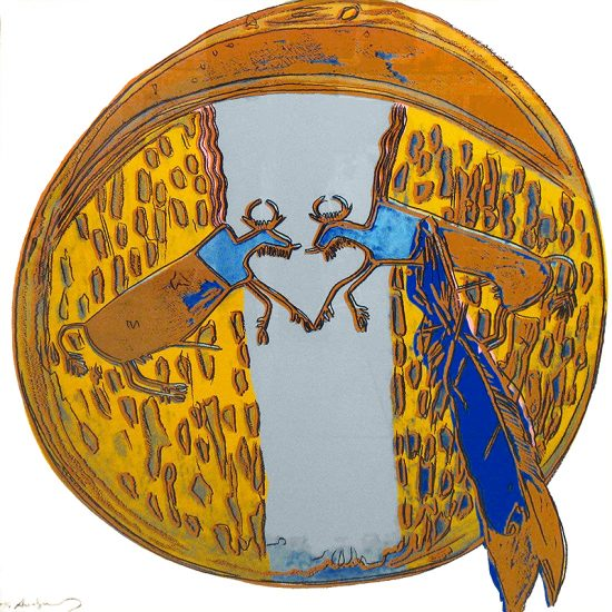 Andy Warhol Lithograph, Plains Indian Shield, From the Cowboys and Indians Series, 1986 Unique Trial Proof