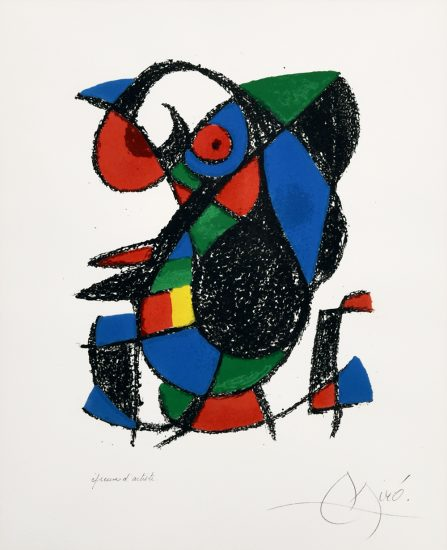 Joan Miró Lithograph, Plate 9 (From Lithographs II), 1975
