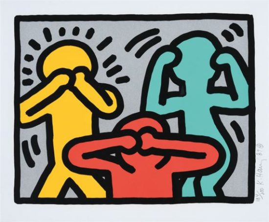 Keith Haring Silkscreen, Pop Shop III (Plate 3), from the Pop Shop III Portfolio, 1989