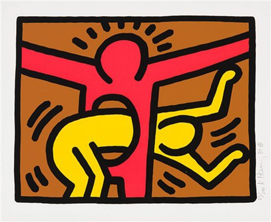 Keith Haring Silkscreen, Pop Shop IV (Plate 3), from the Pop Shop IV Portfolio, 1989