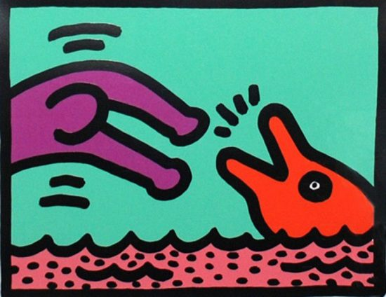 Keith Haring Silkscreen, Pop Shop V (Plate 1), from the Pop Shop V Portfolio, 1989