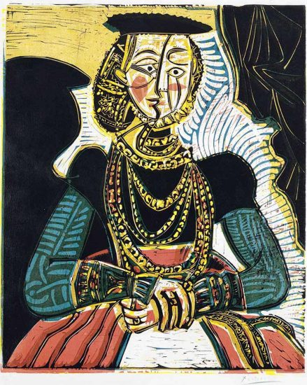 Pablo Picasso Linocut, Portrait of a Woman, after Lucas Cranach, 1958, Bloch 859