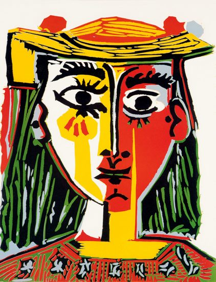 Pablo Picasso Linocut, Portrait of a Woman with a Hat, 1962, Bloch 1072