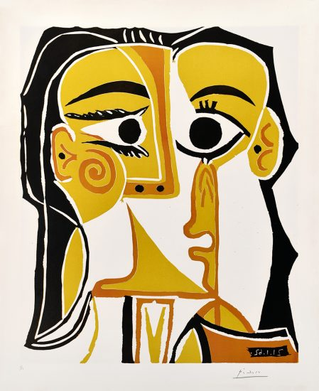 Pablo Picasso Linocut, Portrait stylise de Jacqueline (Tête de Femme) (Stylized portrait of Jacqueline (Head of a Woman)), 1962